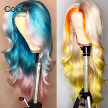 COLODO Ombre Orange Lace Front Human Hair Wigs Preplucked Re