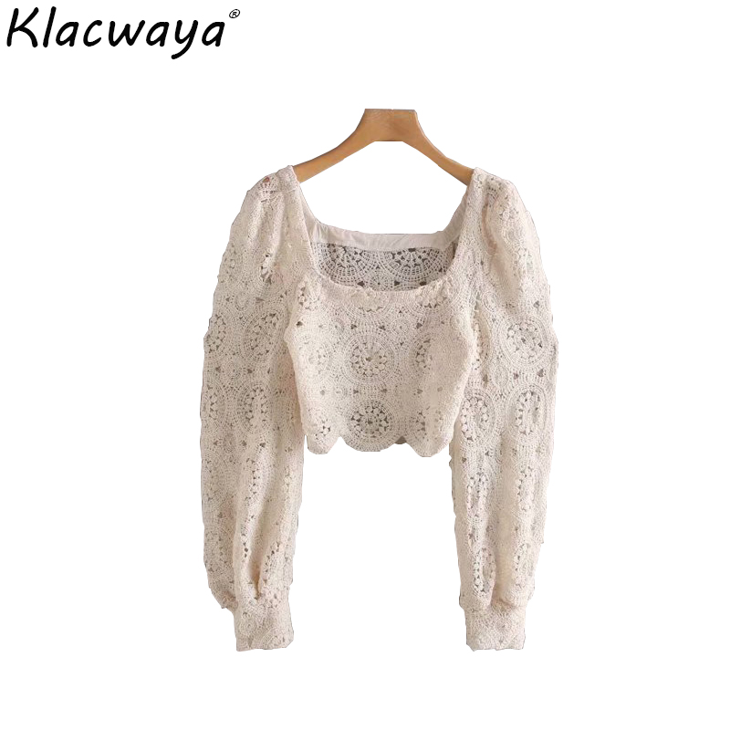 Retro Floral Lace Halter Fashion Openwork Long Puff Sleeve Sexy Knit Shirt Blouse disney shirt women blouses crop top women tops