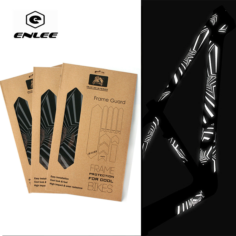 ENLEE Bike Stickers Wear-Resistant 3D Reflective Sticker Repeat Paste Bicycle Frame Stickers Decals Cycling Accessories