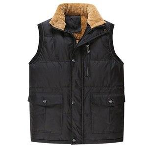 Image 3 - Autumn Winter Fleece Mens Vest Casual Mens Sleeveless Solid Color Black Warm  Plus Size 7XL Thick Mens Vest Jacket Casaco Gilet