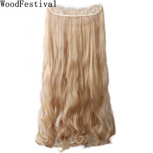 WoodFestival Women Heat Resistant Long Wavy Ponytail Wig Hairpieces 5 Clip in one piece Synthetic Hair Extension недорого