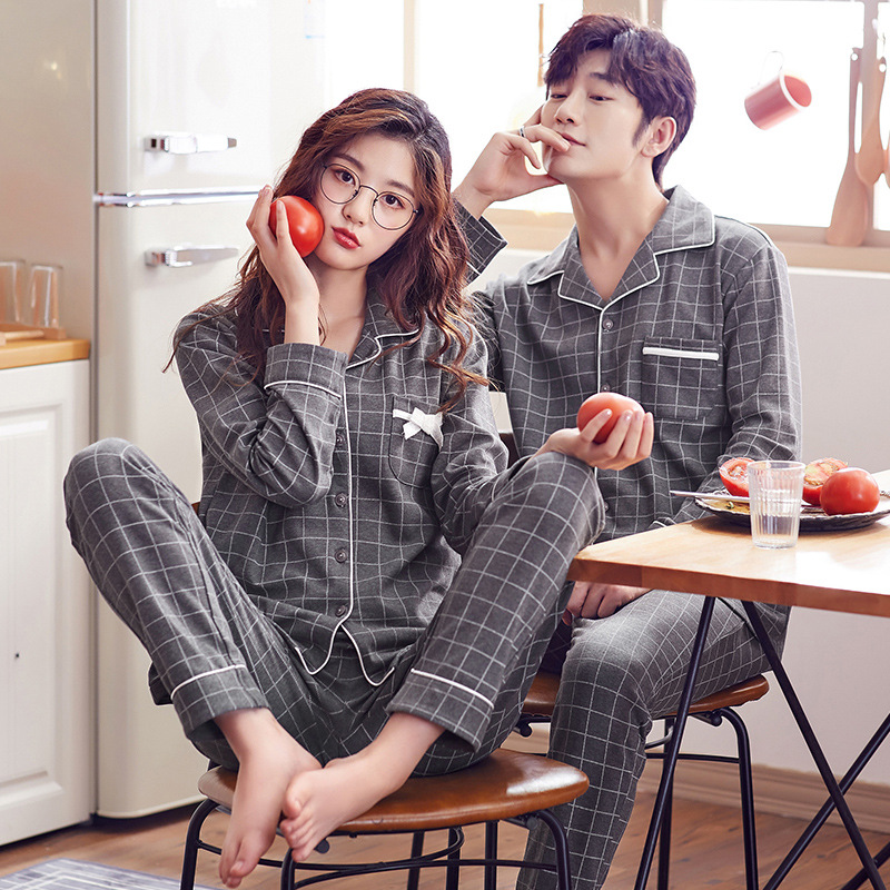 Couple Pajama Set Couple Sleepwear Spring Autumn Long Sleeve Casual Homewear Korean Style Simple Gray Plaid Nightwear Cotton