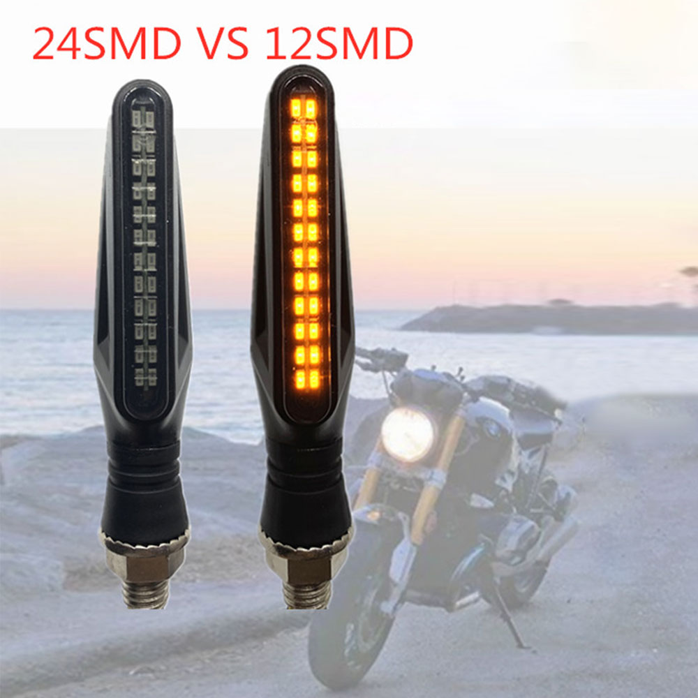 4pcs Universal Flowing Water Flicker Led Motorcycle Turn Signal Indicators Blinkers Flexible Bendable Amber Light Lamp