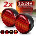 20 светодиодный 12 В 24 В Универсальный Автомобильный задний светильник задний стоп-индикатор тормозной светильник круглый сигнал Красный Ян...