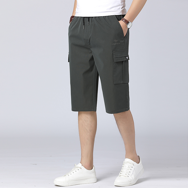 Pop Military Shorts Elastic Waist And Baggy Multiple Pockets For Summer Men Nice Pop 5XL