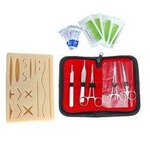 Pele sutura prática almofada de silicone com ferida simulado kit de treinamento equipamentos de ensino agulha tesoura ferramenta kit