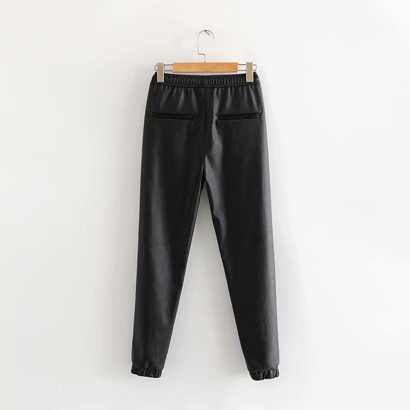 Pantalon crayon noir femmes printemps automne Simple taille haute en cuir pantalon Slim dames pantalon taille élastique pantalon long décontracté