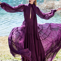 Autumn Vintage Purple Chiffon Long Women Dress 2020 Runway Designers Elegant Bow Long Sleeve Pleated Maxi Dress