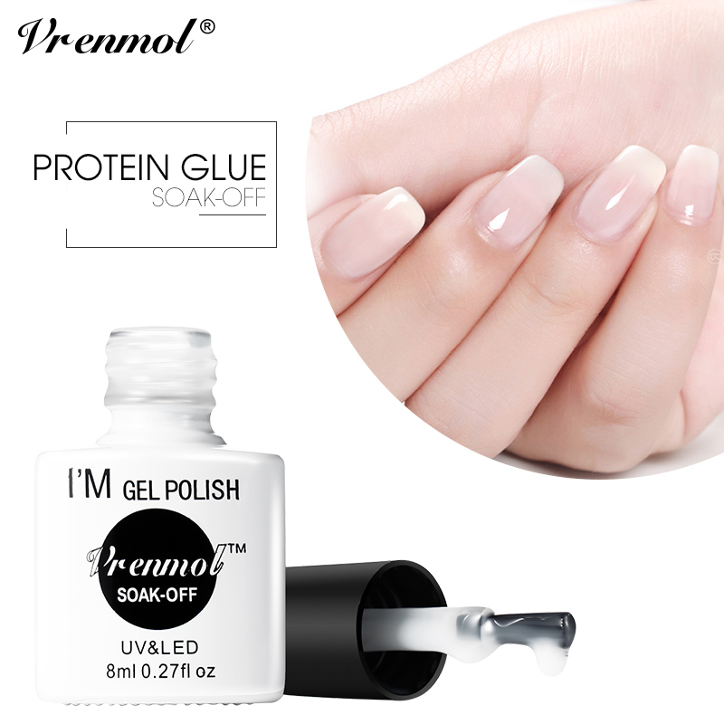 Vrenmol Translucent Gel Nail Polish Opal Jelly Gel Lacquer Clear Milk White Color Protein UV Gel Semi-permanent Gel Varnish