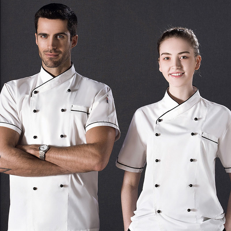 New Short Sleeve Classic Chef Jacket Summer Restaurant Cook Uniforms Double-breasted Food Service Work Apparel With Pockets