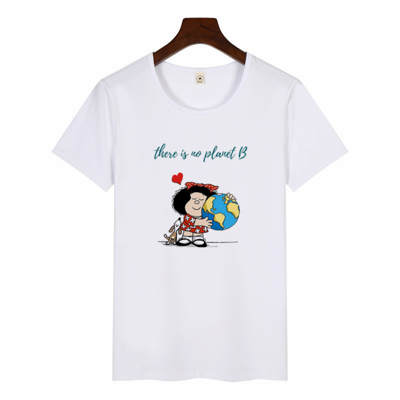 Cartoon Cute Toda Mafalda Print T Shirt 2019 Women Short Sleeve Tops Girls Casual Kawaii T-shirts Fashion O-neck Tshirt Harajuku