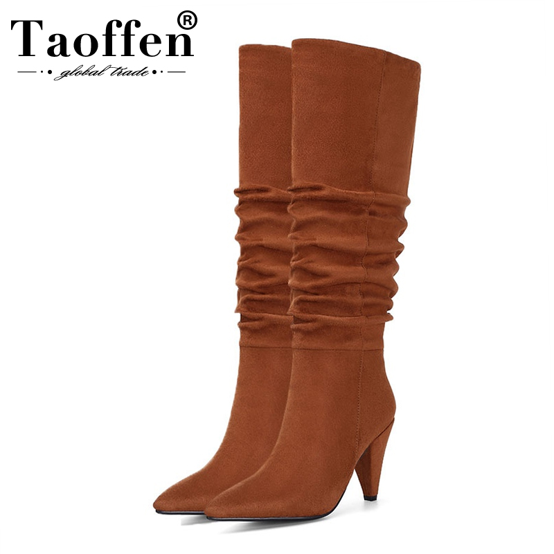Taoffen Knee High Stretch Boots For Women Sexy Pointed Toe High Heeled Winter Keep Warm Fur Shoes Women Footwear Size 34-43