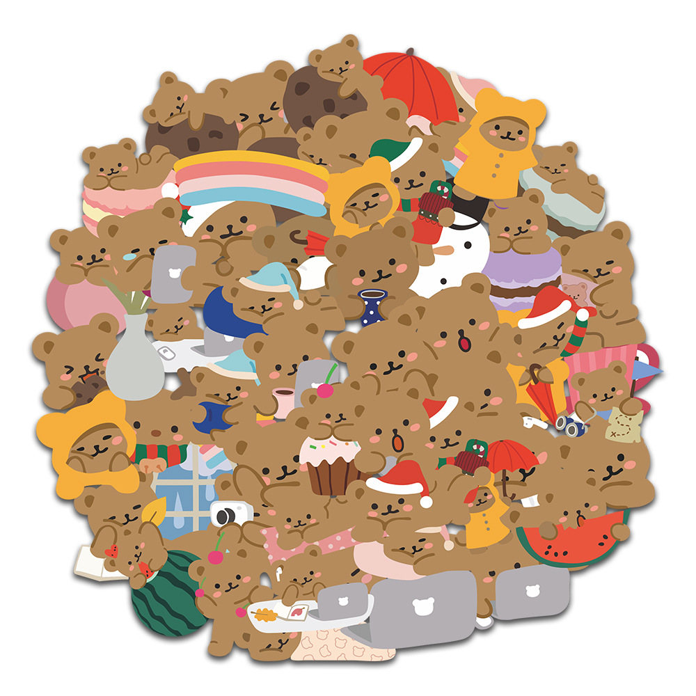 60Pcs/set Ins Cute Cartoon Little Bear Hand Account Stickers For Laptop Phone Luggage Decoration Korean Stationery Sticker Decal