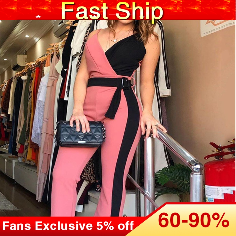 Sexy Women Jumpsuit Elegant Office Ladies V Neck Fashion Color Patchwork Flared Long Jumpsuits Party Playsuit Club Wear Rompers