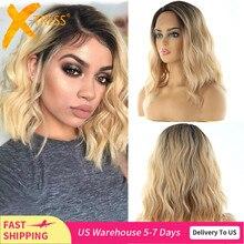 Lace Front Synthetisch Haar Pruiken X TRESS Ombre Bruin Blond Kleur Natuurlijke Golf Zijscheiding 12 Korte Bob L Deel kant Pruik Voor Vrouwen