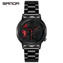 SANDA 2020 Fashion Cool Men Watch Quartz Movement Wheel Wristwatch Stainless Steel Band Outdoor Match Relogio Masculino 1040