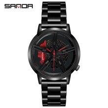 SANDA 2020 moda fajne mężczyźni zegarek kwarcowy mechanizm koła zegarek pasek ze stali nierdzewnej na zewnątrz mecz Relogio Masculino 1040