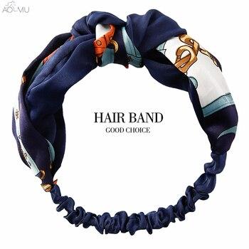 Женская повязка на голову AOMU, шифоновая повязка с узлом и бантом в стиле бохо, 28 стилей, аксессуары для волос в виде тюрбана