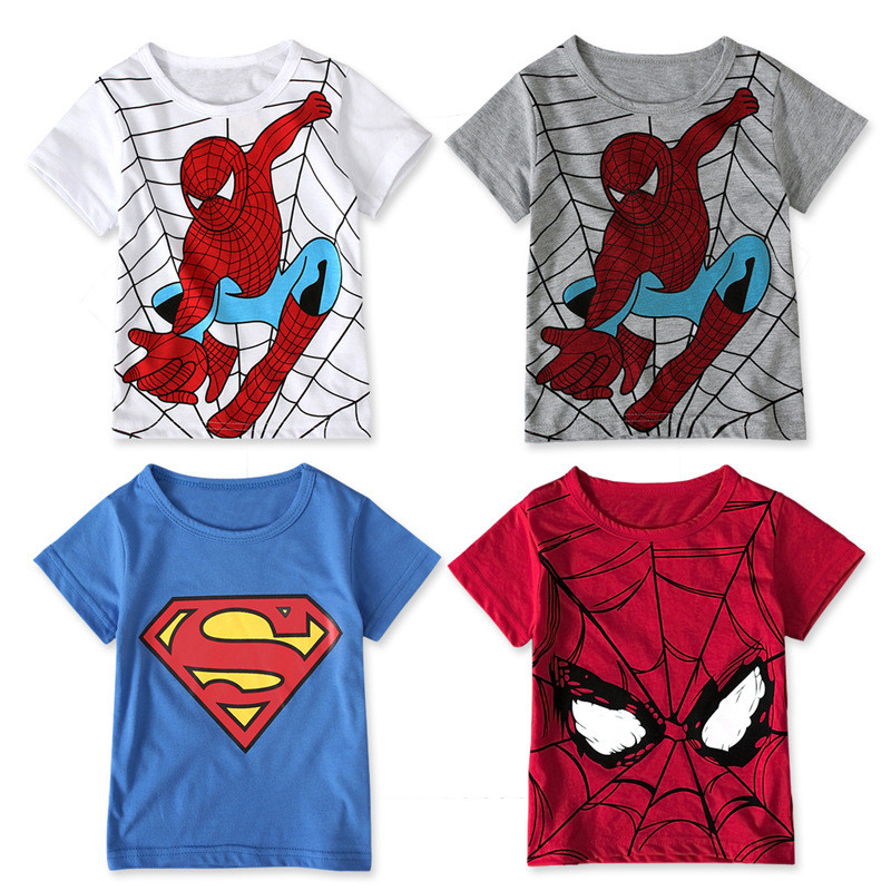 Children Baby Boys Spiderman T Shirts Short Sleeve For Kids Girls Superman Print Cartoon T Shirts Cotton Children Tops Tee New