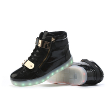 Lights Up Led Luminous Men Shoes High Top Glowing Male Casual Shoes With Led Simulation Sole Charge For Adults