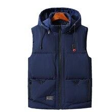 купить Vest Men Plus Size 6XL 7XL 9XL Casual Winter Sleeveless Jacket Male Hooded Thick Warm Parka Jacket Waistcoat Men cotton vest дешево