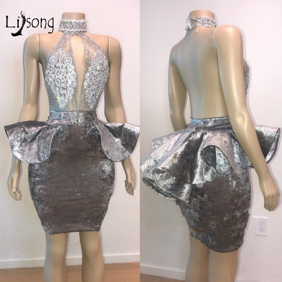 Luxury Crystal Beaded Short Cocktail Dresses 2019 Sexy Backless Mini Party Dress Vestidos Coctel 2019