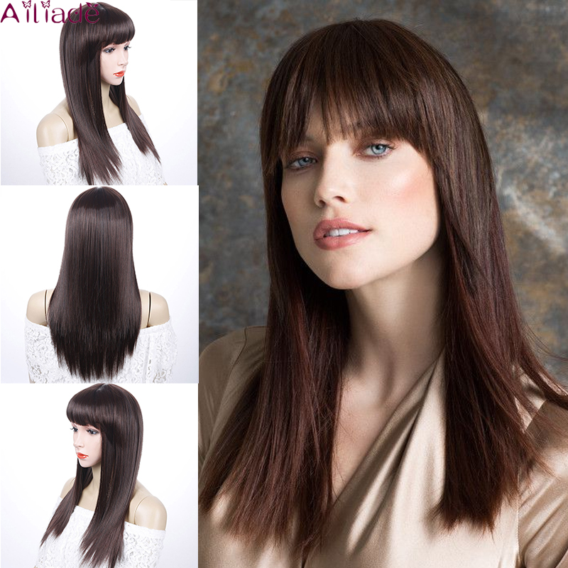 AILIADE Long Ombre Dark Brown Wigs With Bangs Cosplay Synthetic For Black Women Afro Straight Natural False Hair Wigs