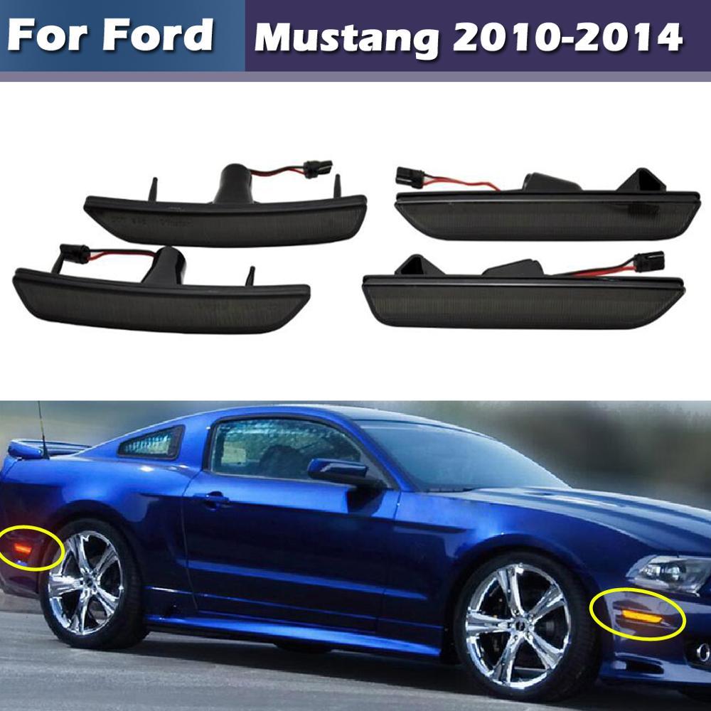 Lentille fumée ou transparente ambre/rouge feu de position latéral pleine LED pour Ford Mustang 2010 2014 - 1