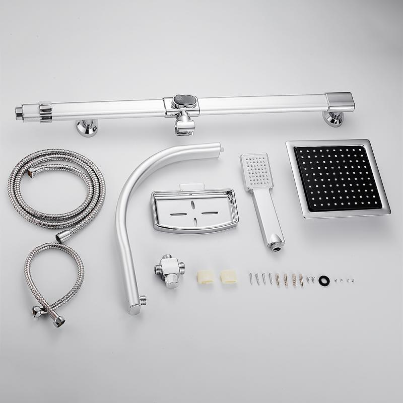 H28b71840794f47c182256e58431d78des Aluminum Alloy Shower System Set Bathtub Thermostatic Shower Mixer With Hand Shower Soap Box Bathroom Faucets Shower Set HWC