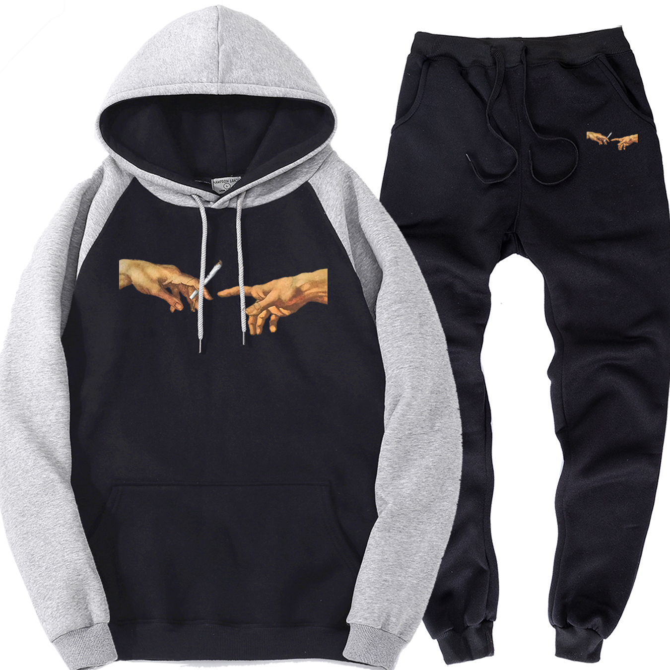 MICHELANGELO Male Fleece Sports Suits Stylish Trousers Men  Warm Raglan Hoodies Streetwear Harajuku Clothing Tracksuit Men Sets