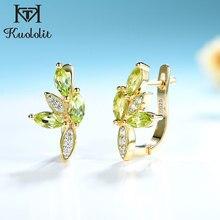 Kuololit Natürliche Peridot Edelstein Clip Ohrringe für Frauen Echtes 925 Sterling Silber marquise Ohrringe für Party Hochzeit Neue