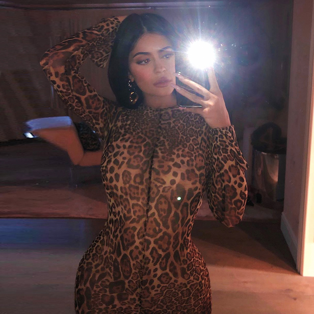 Sexy Turtle Neck Animalia Catsuit Stretchy Mesh Leopard Print Jumpsuits With Open Sleeves In The Style of Kylie jenner 1