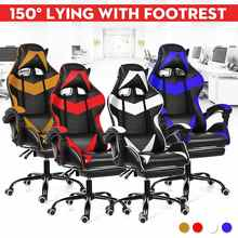 Chaise de Gaming en cuir PU, confortable, inclinable à 150 °, pour ordinateur et bureau