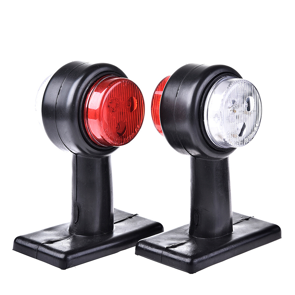Universal 2pcs 10-30V Truck LED Trailer Lights Caravan Double Side Marker Clearance Light Warning Lamp Red & White