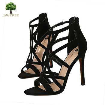 BIGTREE Sandal Woman Summer High Heel Sandals Sexy Sandals Black Clear Heels High Suede Platform Stripper Shoes 2020 Sendal fedonas summer fur sandals women genuine leather sandals suede retro high heels square heel woman wedding party shoes woman