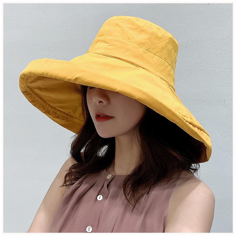 K34 Women's Bucket Hat Fashion Summer Big Brim Panamanian Women 2021 Sun Hat For Female Beach Double Sided Fisherman Hat  Visor