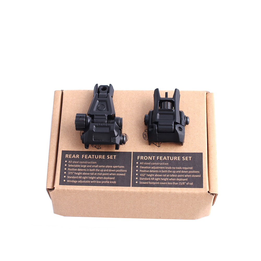 Tactical Adjustable Folding Front Rear Sight Hunting Flip Up Rapid Transition Backup Iron Sight Set For AR15 For 20mm Rails