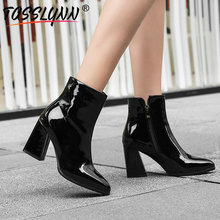 TASSLYNN 2019 Women Boots Pointed Toe Woman Shoes Ankle Boots Square High Heels Western Style Autumn Women Snow Boots Size 34-43 esveva 2019 ankle boots for women shoes round toe square high heels synthetic woman boots shoes autumn ladies boots size 34 39