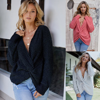 Round necked Knitted Women's Long Sleeve Sexy Show shoulder Loose Furry Women's Clothing New Top LC270014