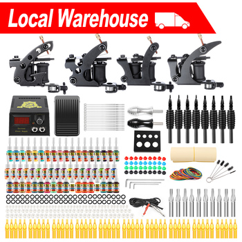 complete profession tattoo kits 10 wrap coils 4 guns machine tattoo needles set power supply disposable needle with toolbox Solong 4 Tattoo Machines Guns Kits for Liner and Shader Professional Complete Four Coils Machine Sets 54 Inks Power Supply TK457