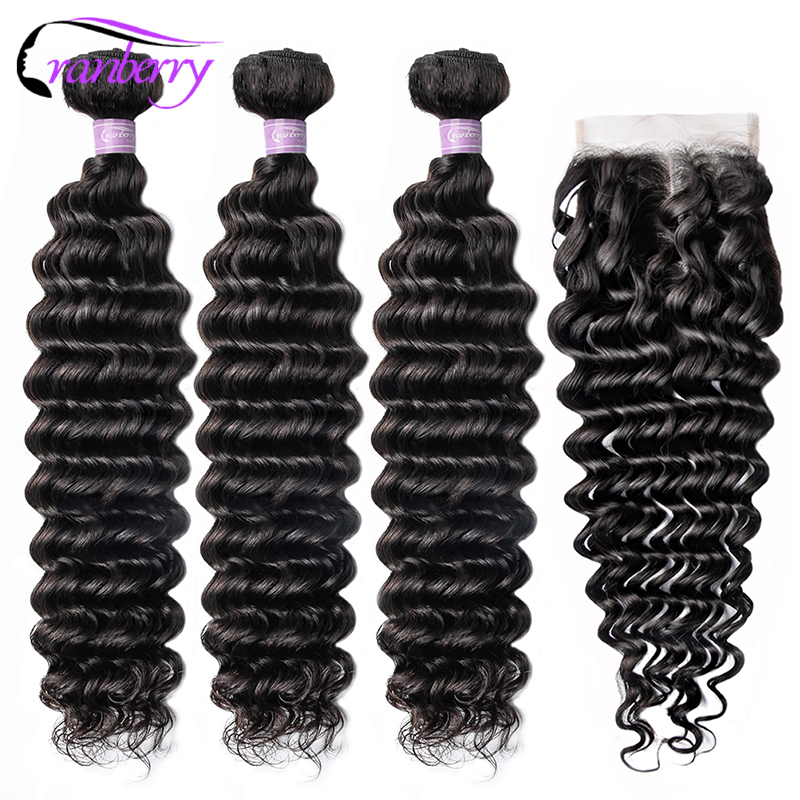 CRANBERRY Peruvian Human Hair Bundles With Closure Swiss Lace 4 Pcs/lot 100% Remy Hair 3 Budnles Deep Wave Bundles With Closure