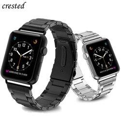 Роскошный чехол-книжка с ремешком для наручных часов Apple watch, версии 44 мм 40 мм наручных часов iWatch, ремешок 38 мм 42 мм Нержавеющаясталь (мы прод...