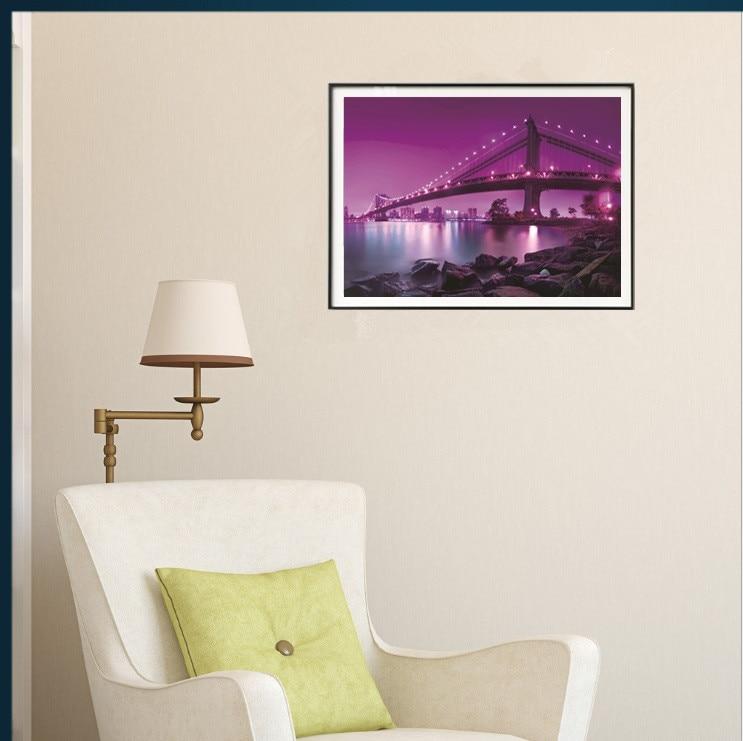 5D ภาพวาดเพชรอุปกรณ์เสริมสีม่วงสะพานนกเพชรภาพวาด Spectacular อาคาร Diamant ภาพวาดเย็บปักถักร้อยเพชร