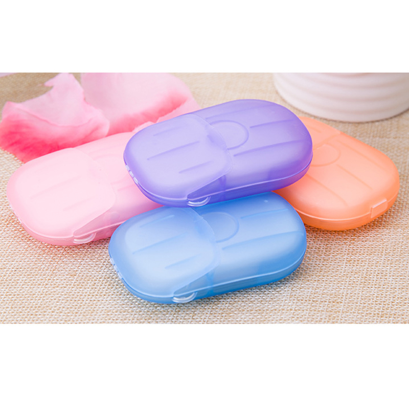 20pcs/Box Foaming Boxed Paper Soap Portable Scented Slice Soap Paper Outdoor Cleaning Travel Soap Papers