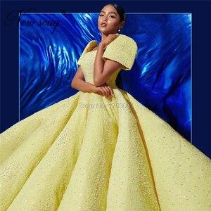 Image 2 - נסיכת כתרי שרוול נשף שמלת צהוב הנפוח קוטור האסלאמי סלבריטאים שמלות 2020 אישית נצנצים שמלת ערב Robe Soiree