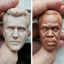 1/6 Scale PVC Male Head Sculpt Unpainted White Head Mel Columcille Gerard Gibson/Danny Glover Model for 12 inches Action Figure