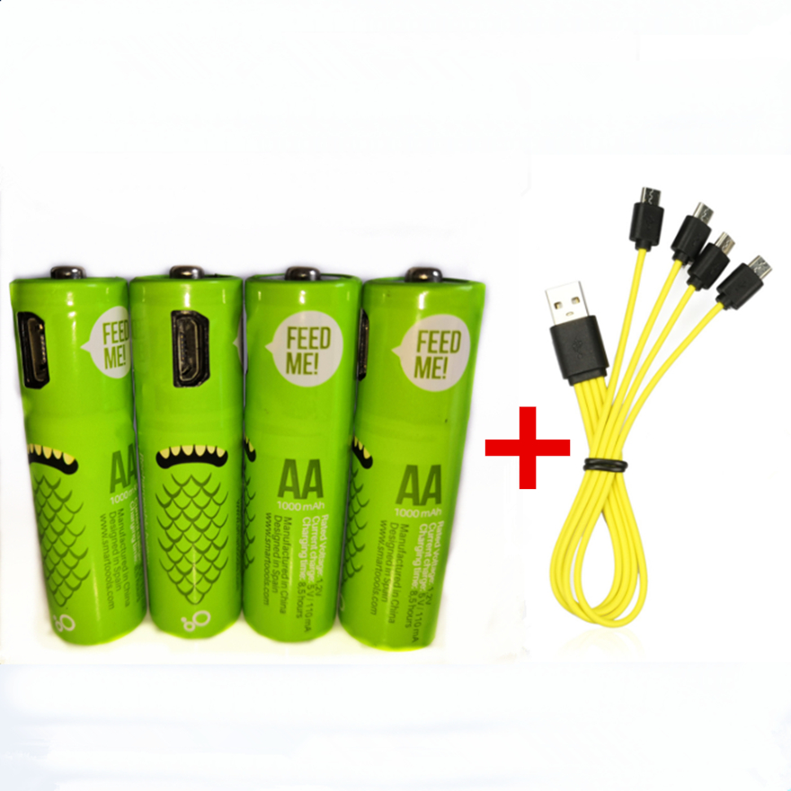 4PCS Hot new 1.2V <font><b>AA</b></font> rechargeable <font><b>battery</b></font> 1000mAh USB Ni-MH rechargeable <font><b>battery</b></font> with Micro-USB fast charging cable image