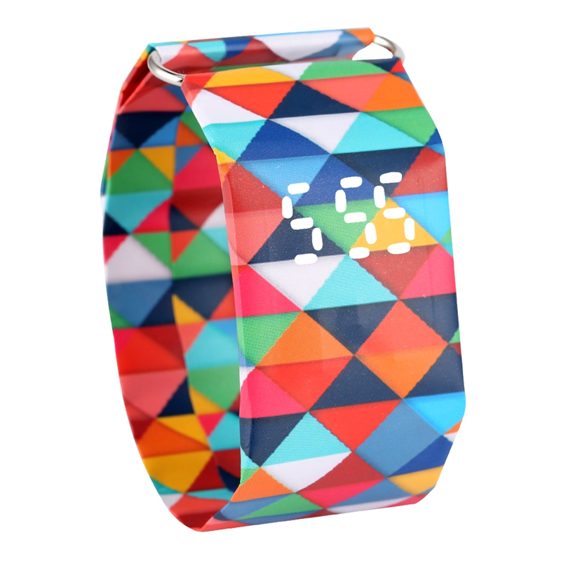 Colored Squares Pattern Paper Watch Durable DuPont Paper Strap Watches Women Gift Digital Time Display Wristwatch Girlfriend