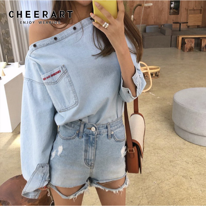 CHEERART Blue Denim Top Off Shoulder Blouse Women Embroidery Letter Slash Neck Long Sleeve Loose Blouse Streetwear Clothes