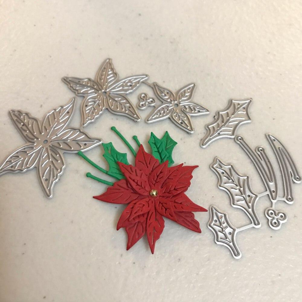 Craft metal cutting dies cut die mold Christmas flower leaves Scrapbook paper craft knife mould blade punch stencils dies